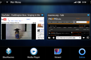 N900 Mer UI – Portrait, New task switcher and dock.