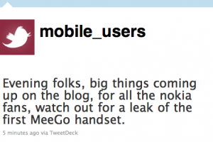 Leak of first Nokia MeeGo handset coming soon