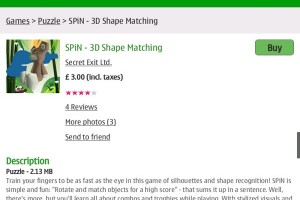 Video: SPiN – 3D Shape Matching available at the Ovi Store (from Secret Exit, makers of Zen Bound)