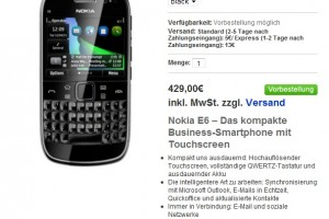 Nokia E6 Available for Pre-Order too from Nokia Germany