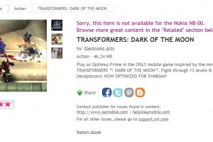 Transformers: Dark Of The Moon available at Ovi Store &#8216;Now Optimized for Symbian&#8217;