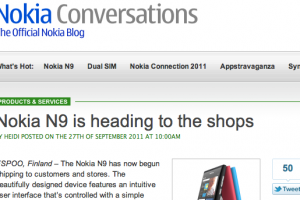 Nokia N9 heading to the shops says Nokia Conversations (Finland from October 13)