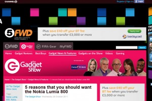Channel 5′s website is ALL Nokia Lumia 800 (and 5 reasons you would want it)