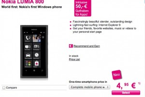 Nokia Lumia 800 – 399.95 EUR without contract (T-Mobile Germany)