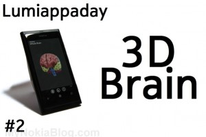 Lumiappaday #2: 3D Brain demoed on the Nokia Lumia 800