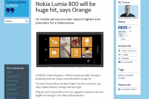 Nokia Lumia 800 – Highest pre-order numbers ever for a Nokia Phone on Orange? (or is it?) updated: Lumia to be a hit says Nokia