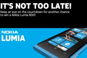 Win a Nokia Lumia 800 today, check out the countdown.