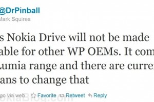Nokia Drive is NOT going to be available on to other WP OEMs