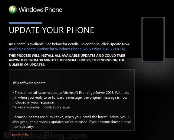 10.7740.16 Update available for Nokia Lumia 800. (Guide of the new ...