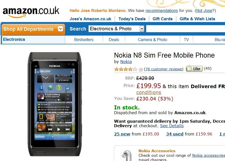 Nokia N8 on Amazon for £199.95, Nokia Lumia for £399.95 : My Nokia ...