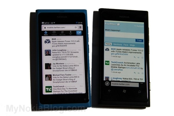 web app vs mobile web (demoed with Nokia N9 and Nokia Lumia 800