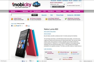 Nokia Lumia 800 on sale at mobicity.com.au