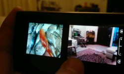 Split screen of previous image alongside live view from camera lens