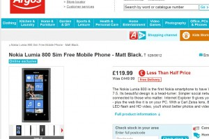 Woah! Nokia Lumia 800 unlocked for £119.99! (Yes, this is no typo). Super Argos Promo! (Update: Pricing error?!)