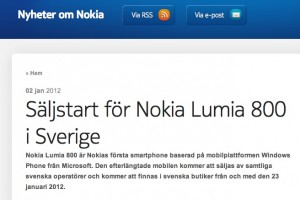 Nokia Lumia 800 for Sweden, January 23rd 2012.