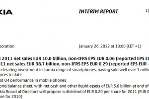 Nokia Q4 2011 results. Well over 1 million lumia devices sold