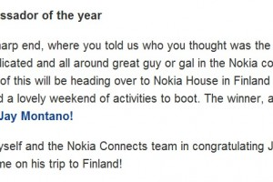 We're going to Finland? Thanks for voting in the Nokia Community Ambassador awards!