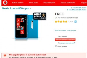 "Nokia Lumia 800 Cyan out of stock in Vodafone, ""This popular phone is currently out of stock""."