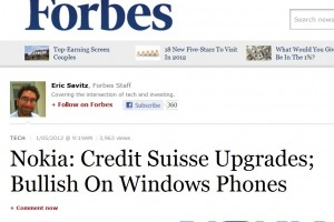 "Nokia Stock upgraded to ""Outperform"" due to likely success of Nokia and Windows Phone as the third platform."