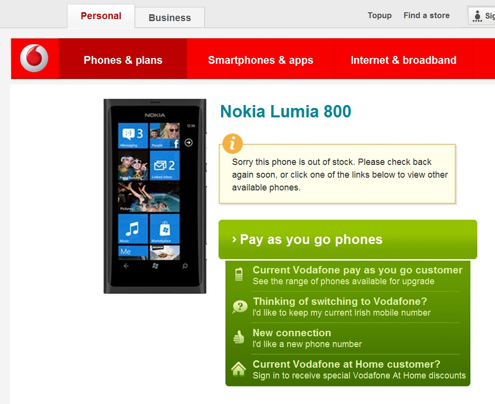 WMPoweruser reports that the Nokia Lumia 800 is out of stock at