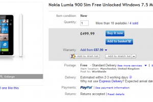 White Lumia 900 For Grabs on Ebay £499.99