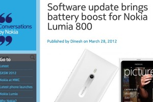 Nok Conv: Software update battery boost for Nokia Lumia 800, WiFi tethering confirmed 'on its way'.