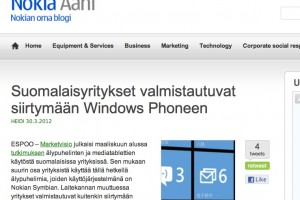 Finnish Companies preparing to move to Windows Phone?