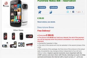 Nokia 808 PureView up for Pre-Order in Italy, due next month.