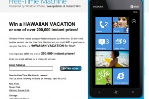 FreeTimeMachine Lumia 900 campaign, 200,000 instant prizes and a Hawaiian Holiday for 4 to be won