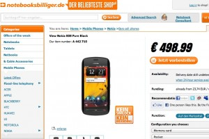 Nokia 808 PureView at notebooksbilliger, 498.99EUR/411GBP