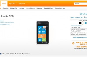 White Nokia Lumia 900 at AT&#038;T online, out of Stock (Cyan too)