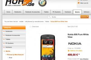 Nokia 808 PureView for 499EUR at HoH.de