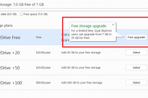 Free SkyDrive Storage to Loyal Users (Upgrade to 25Gbs)