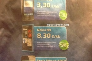 Nokia N9, 8.3 Euros a month on contract, Finland