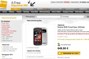 Nokia 808 PureView pre-order at FNAC Portugal
