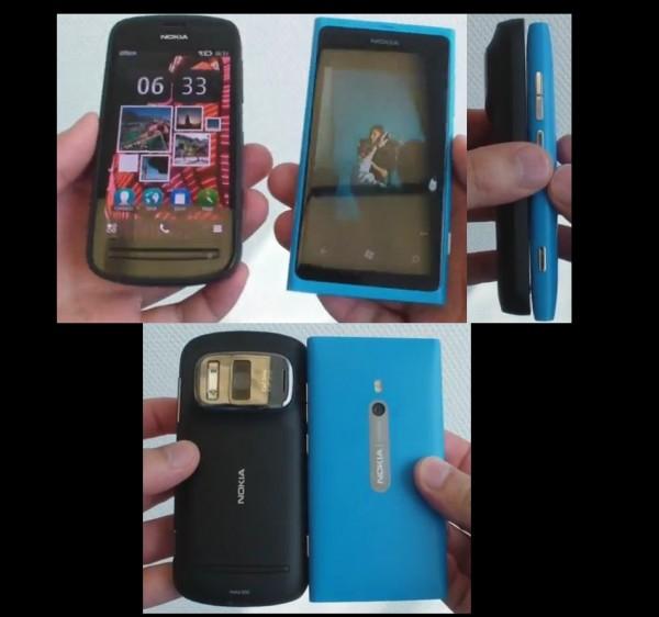 Nokia 808 vs Nokia Lumia 800 vs Nokia E7 (size) [Belle FP1 v112.020.0308.01.01]