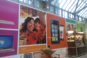 New Microsoft Store in Boston, big banner for Nokia Lumia 900 + Lumia 900 ads at NYC Subway