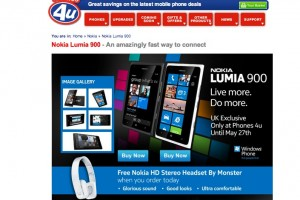 Nokia Lumia 900 available at Phones4U UK (Free Monster Nokia Purity HD)