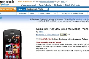 Nokia 808 PureView listing at Amazon UK