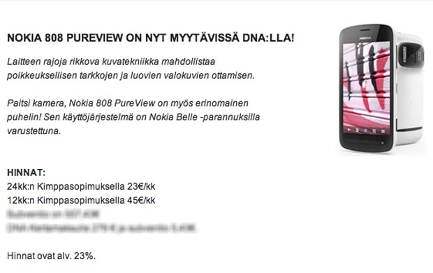 Nokia 808 PureView coming soon to Finland on Contract at DNA : My Nokia Blog - 200
