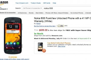 Nokia 808 PureView available on Amazon with Free Super Saver Shipping