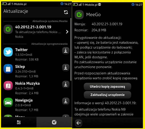 Firmware Update: Nokia N9 to PR1.3 available? v40.2012.21-3.001.19, 204.8MB