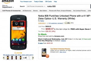 Another (small) price drop for Nokia 808 PureView at Amazon.com ($668.07)