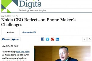 WSJ interviews Stephen Elop &#8211; bringer of the PureView? Reflection on Nokia&#8217;s challenges.