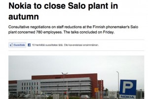 Salo Factory in Finland closing in September