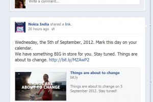 Nokia India&#8217;s facebook says something BIG is in store for you on September 5th