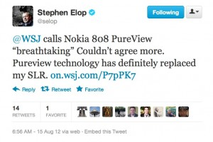PureView replaces Stephen Elop&#8217;s SLR. WSJ calls 808 Breathtaking &#8211; would replace iPhone with Lumia PureView.