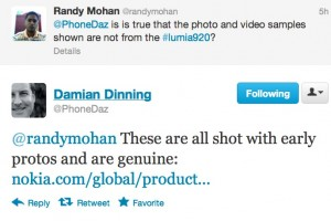 Nokia's Damian Dinning says Nokia Lumia 920 pictures are all real.