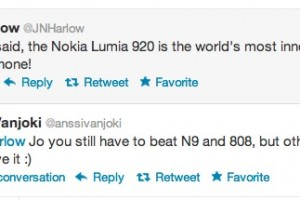 Anssi Vanjoki trades tweets with Jo Harlow on Nokia Lumia 920/N9/808 being the world's most innovative smartphone.