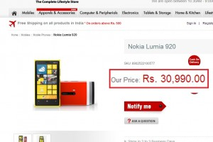 Nokia Lumia 920 at ManiacStore India, 30,990 INR (600USD/370GBP/460EUR)